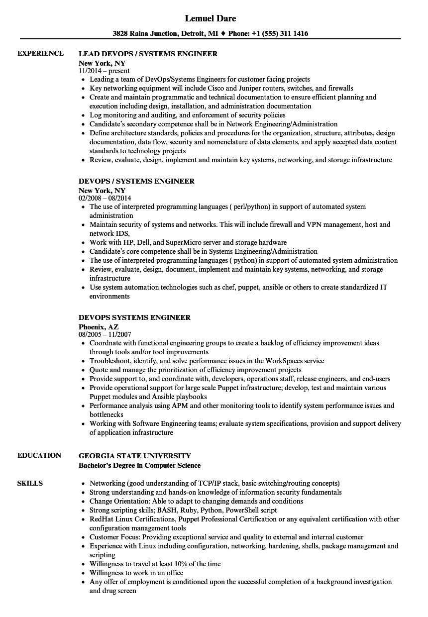 devops systems engineer resume samples