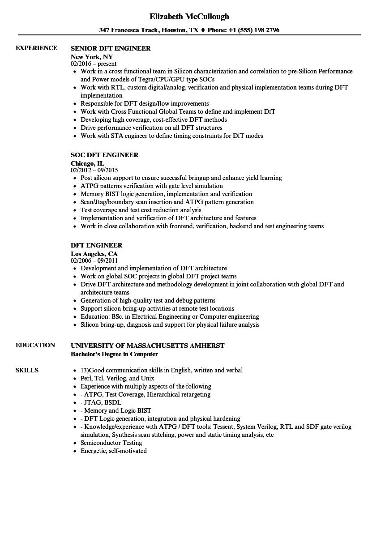 dft engineer resume samples