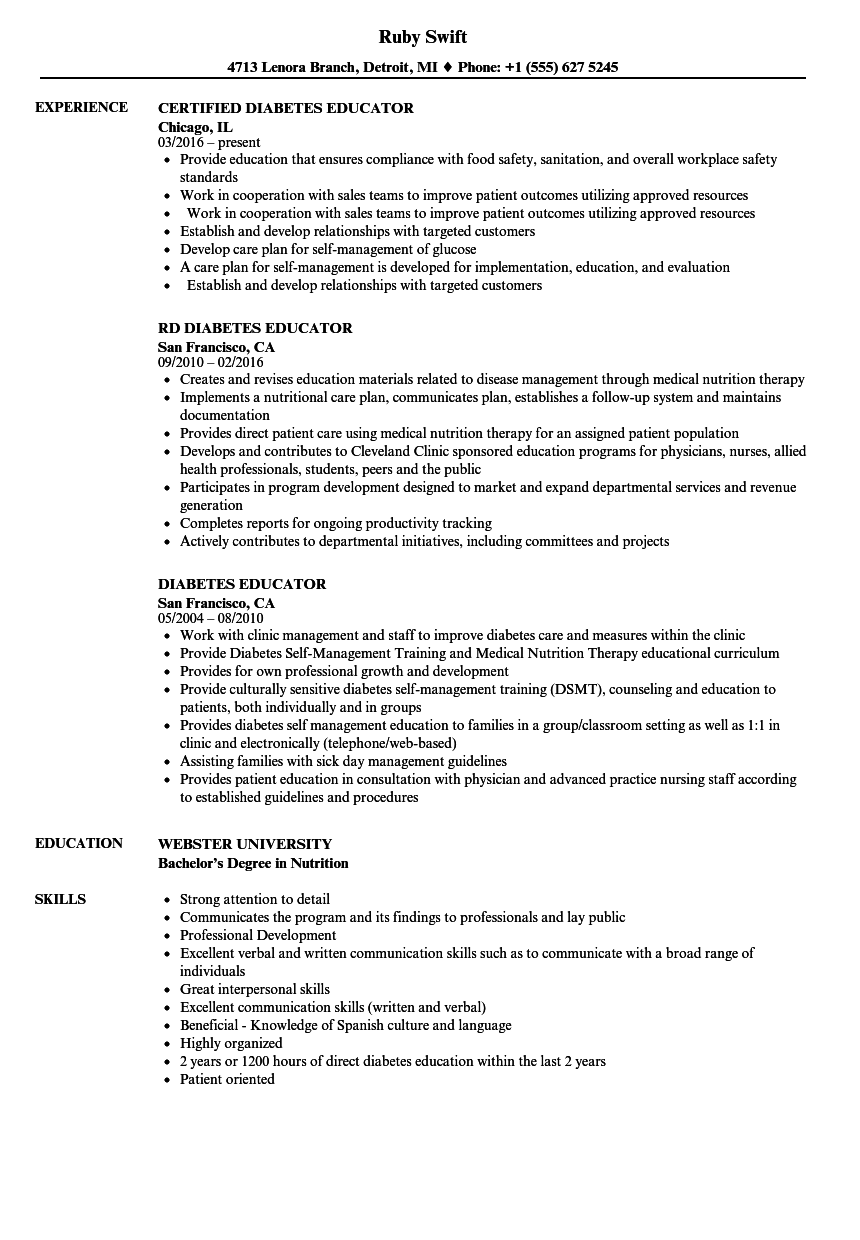 diabetes educator resume samples