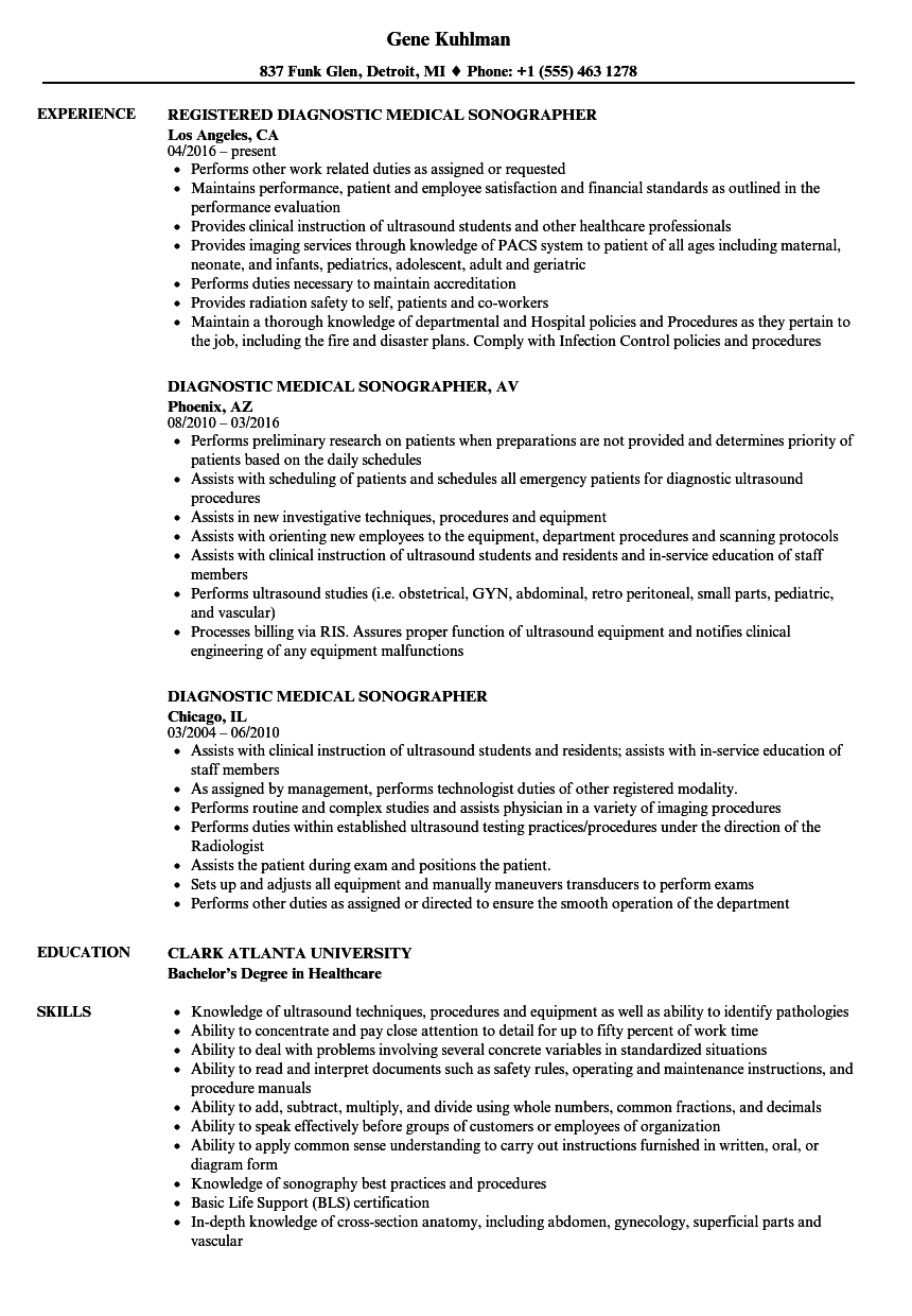 Diagnostic Medical Sonographer Resume Samples | Velvet Jobs