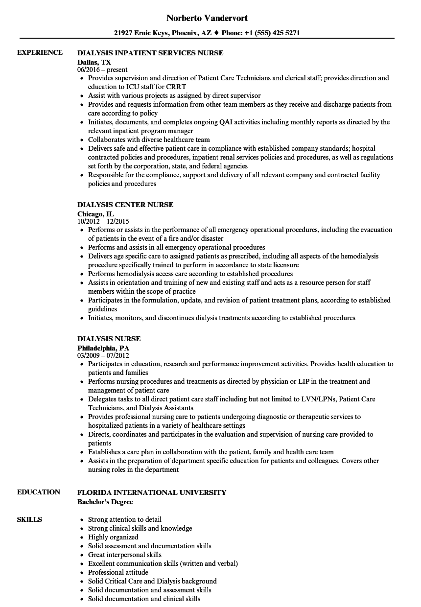 Lovely Download Dialysis Nurse Resume Sample As Image File
