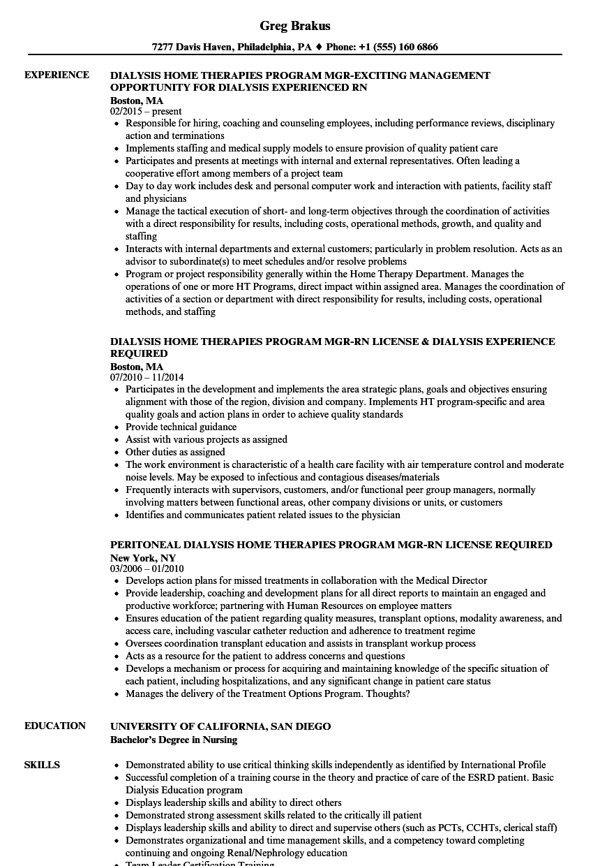 Dialysis RN Resume Samples | Velvet Jobs