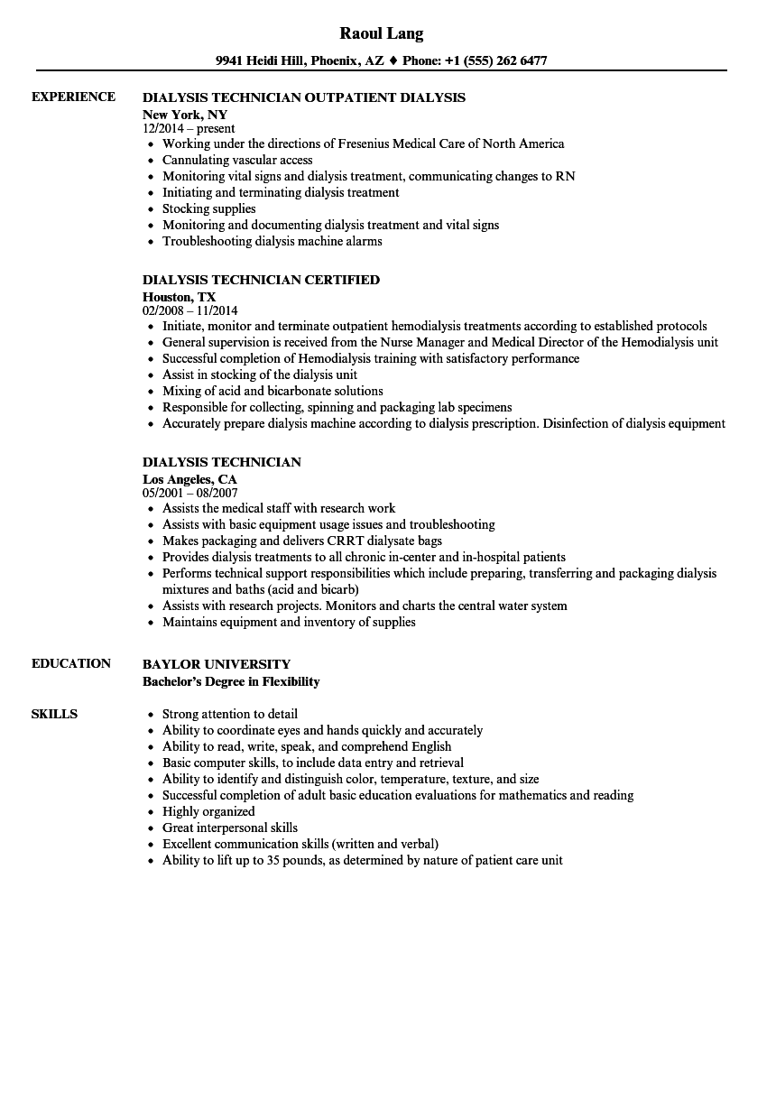 download dialysis technician resume sample as image file - Dialysis Technician Resume