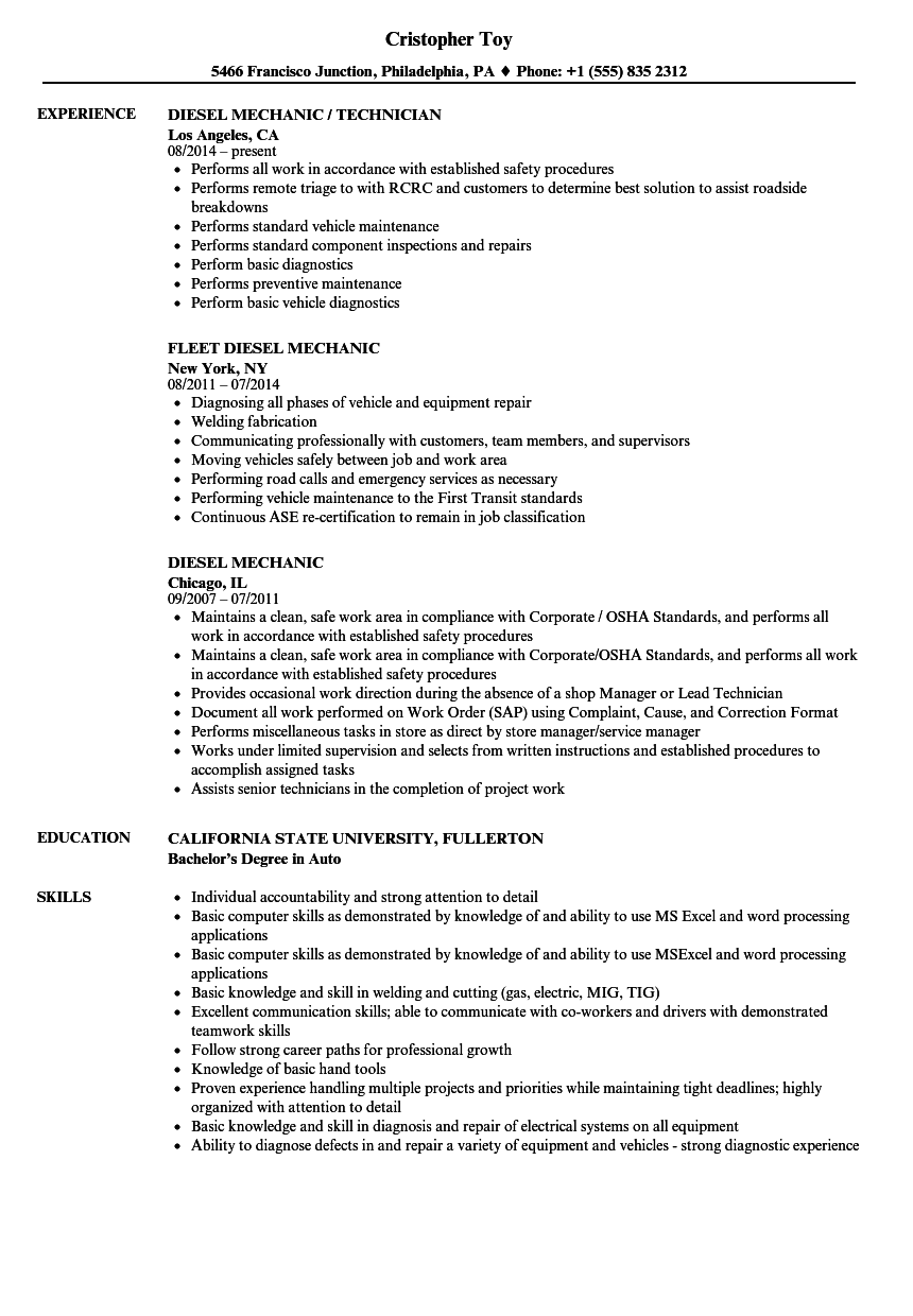 Download Diesel Mechanic Resume Sample As Image File