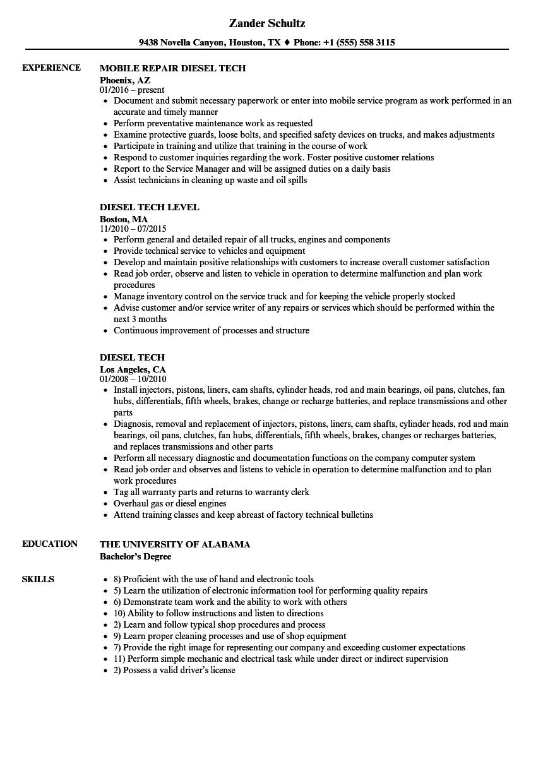 diesel tech resume samples velvet jobs