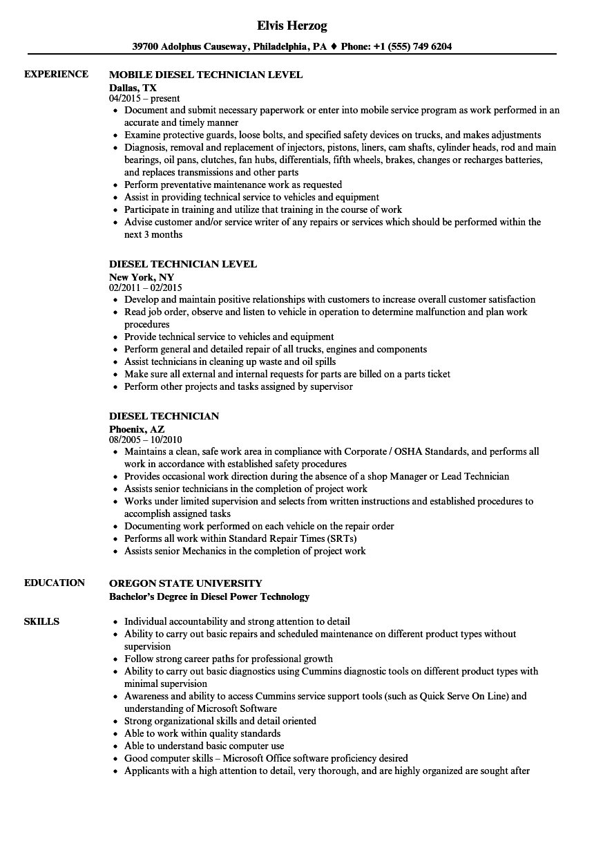 Diesel Mechanic Resume Sample