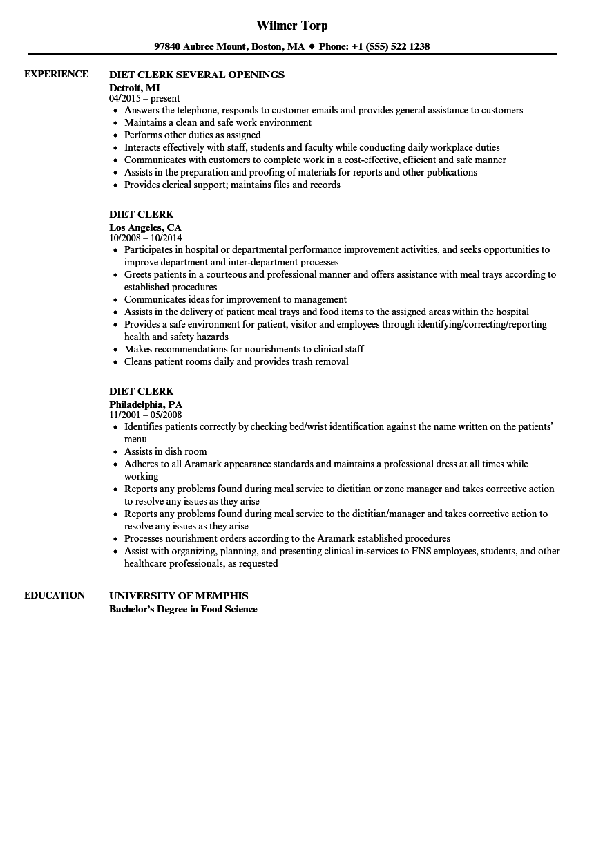 Diet Clerk Resume Samples Velvet Jobs