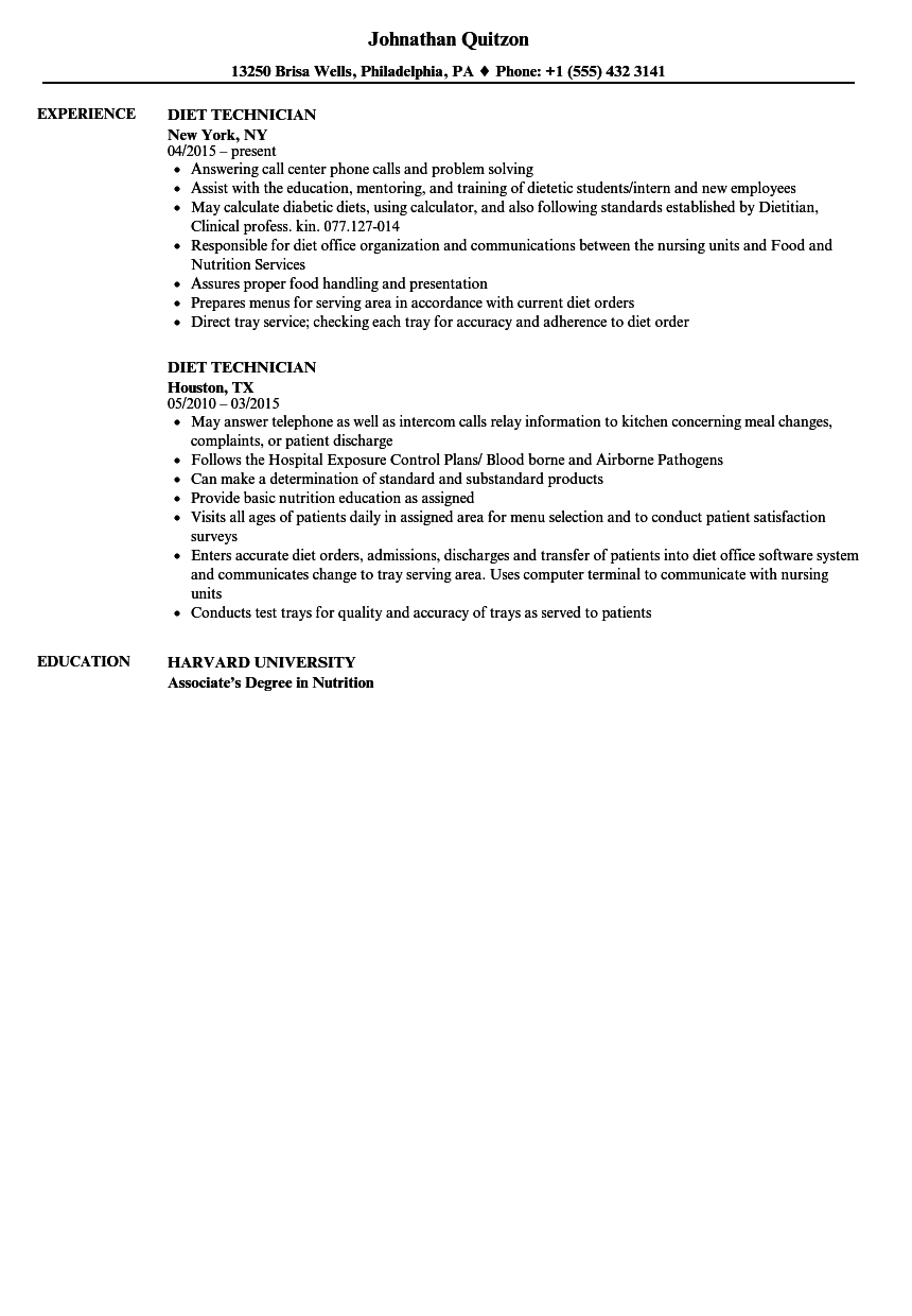 Download Diet Technician Resume Sample As Image File  Technical Resume Samples