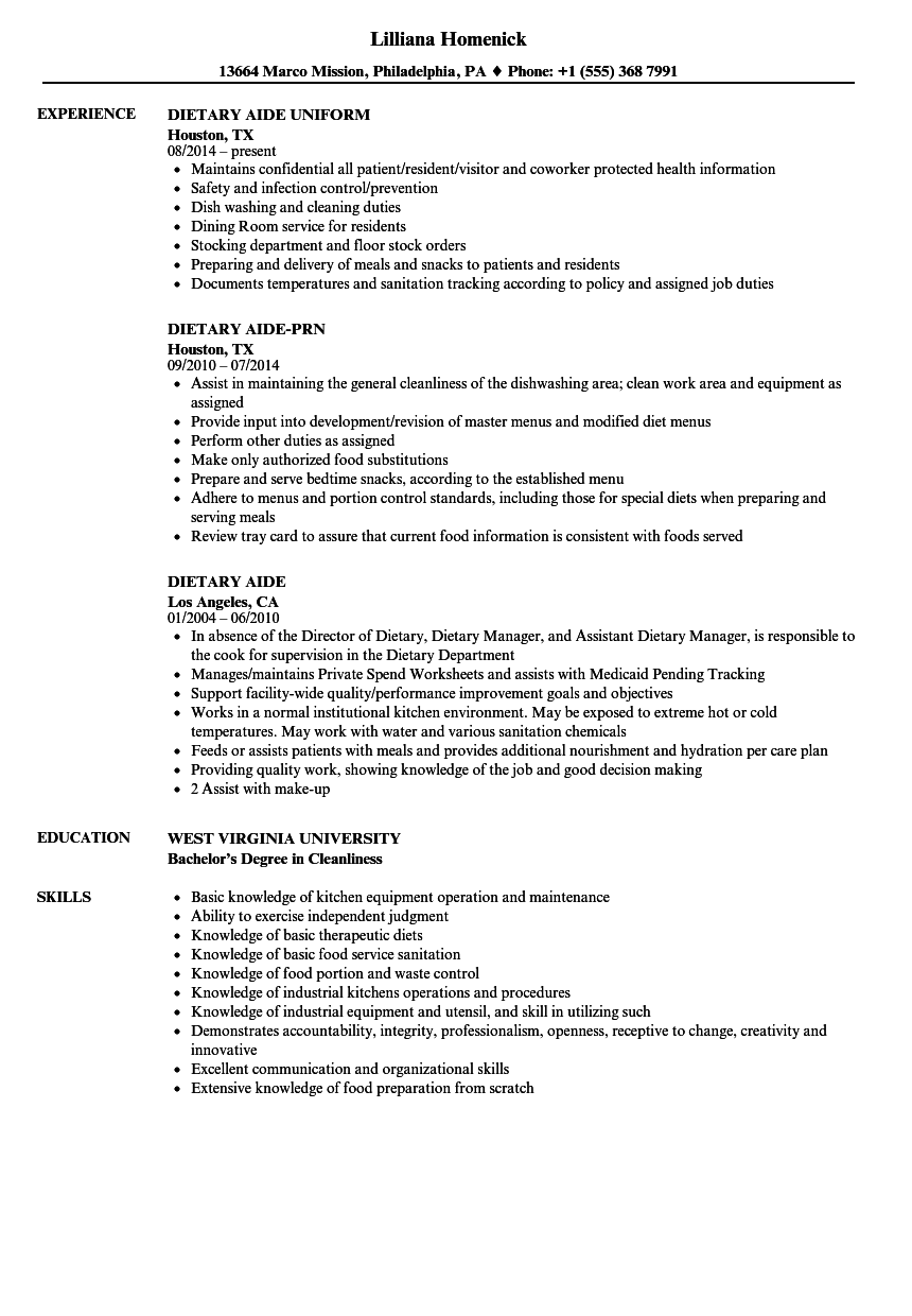 dietary aide resume samples