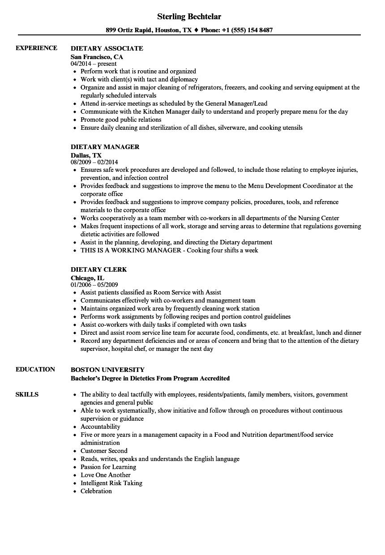 dietary resume samples