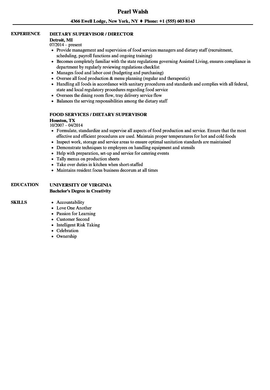 Dietary Supervisor Resume Samples   Velvet Jobs