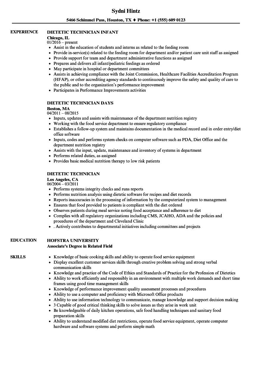 dietetic technician resume samples