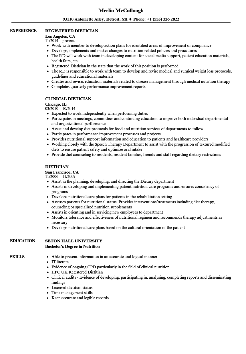 Dietician Resume Samples Velvet Jobs