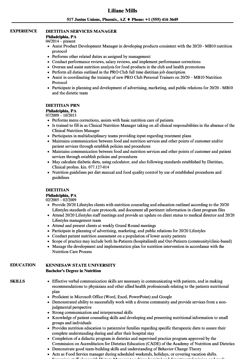 Dietitian Resume Samples | Velvet Jobs