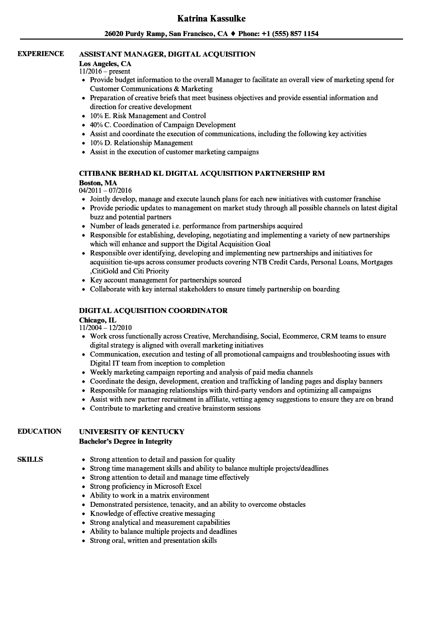 digital acquisition resume samples