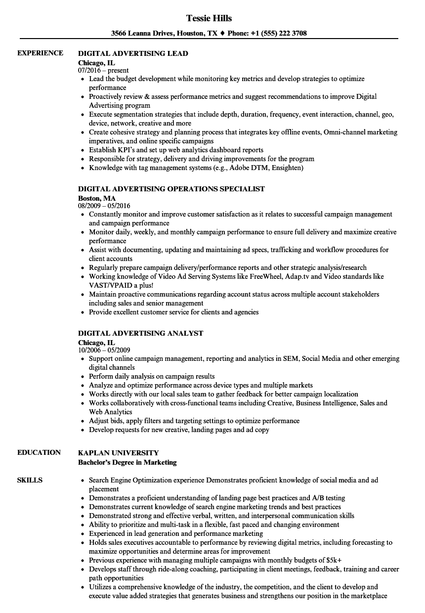 Digital advertising resume