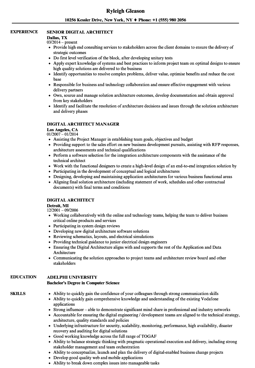 Download Digital Architect Resume Sample As Image File