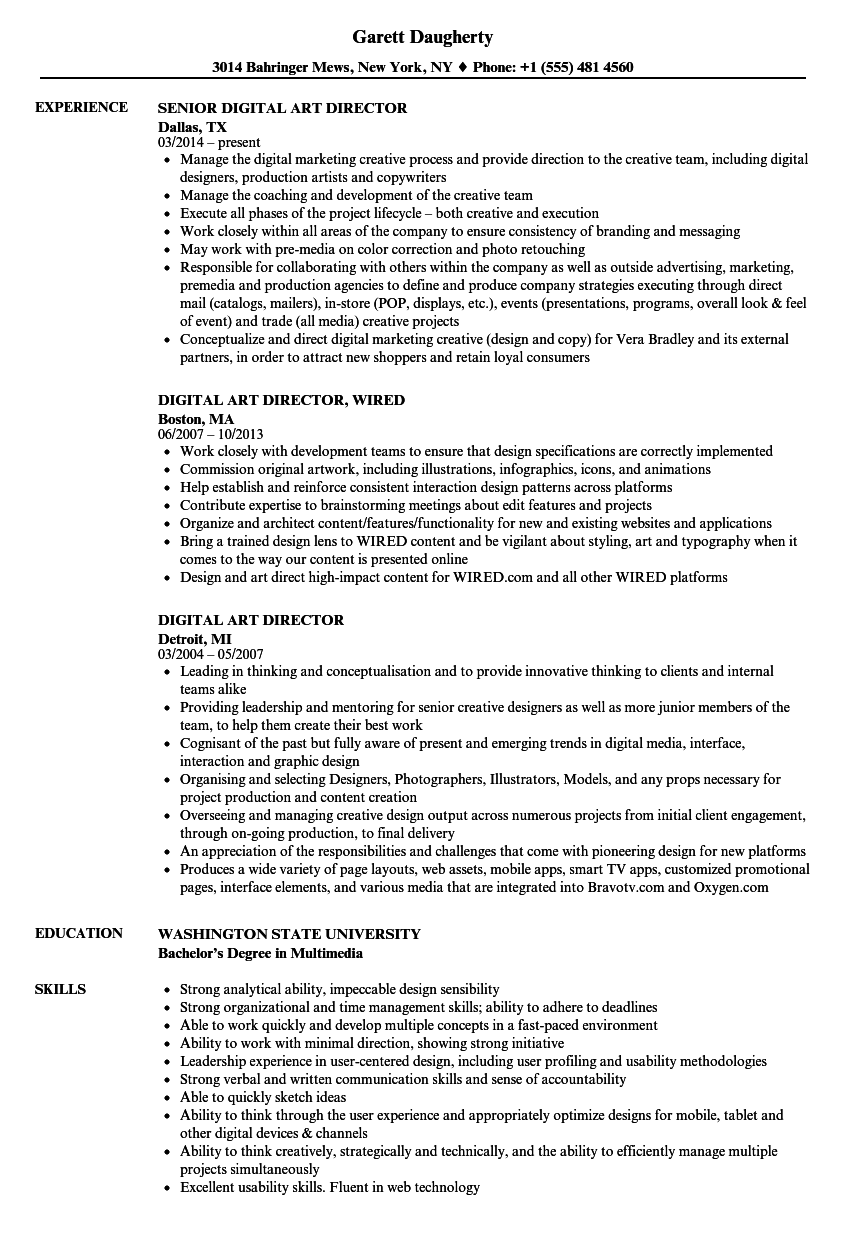 digital art director resume samples velvet jobs