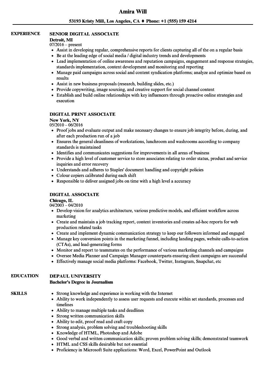 Digital Associate Resume Samples   Velvet Jobs