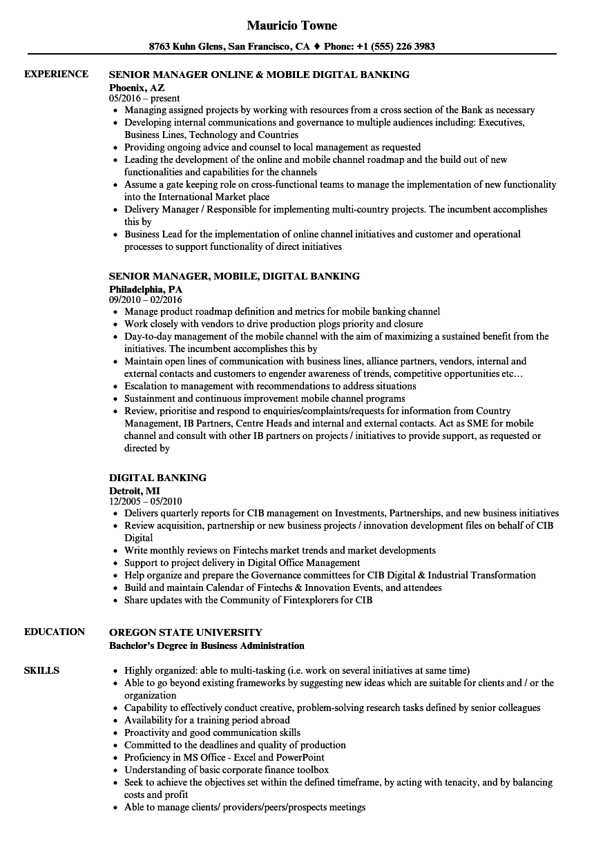 resume example for banking