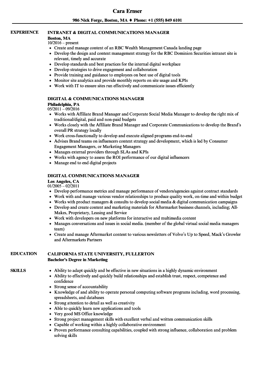 Digital Communications Manager Resume Samples | Velvet Jobs