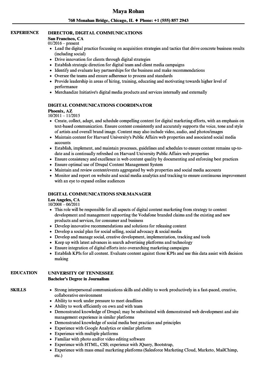 Download Digital Communications Resume Sample As Image File