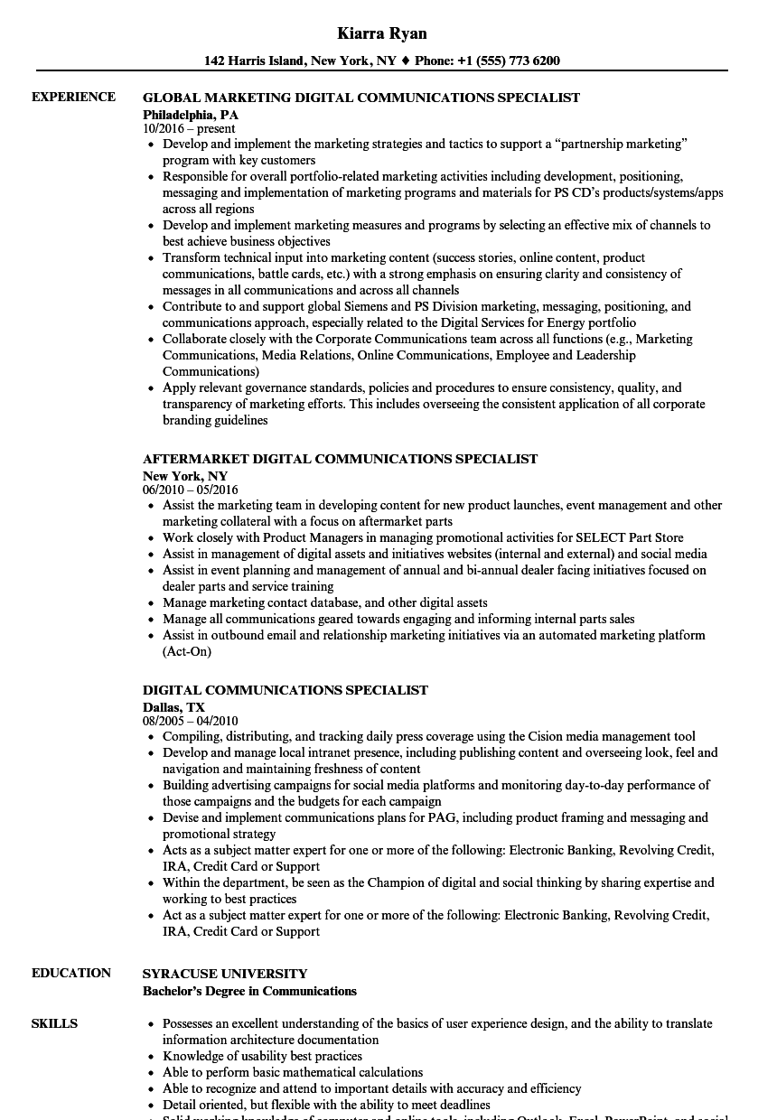 digital communications specialist resume samples