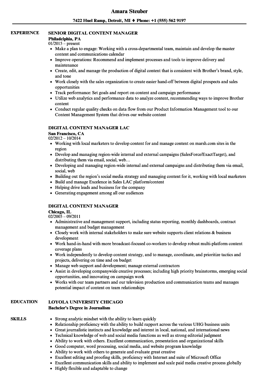 Digital Content Manager Resume Samples | Velvet Jobs
