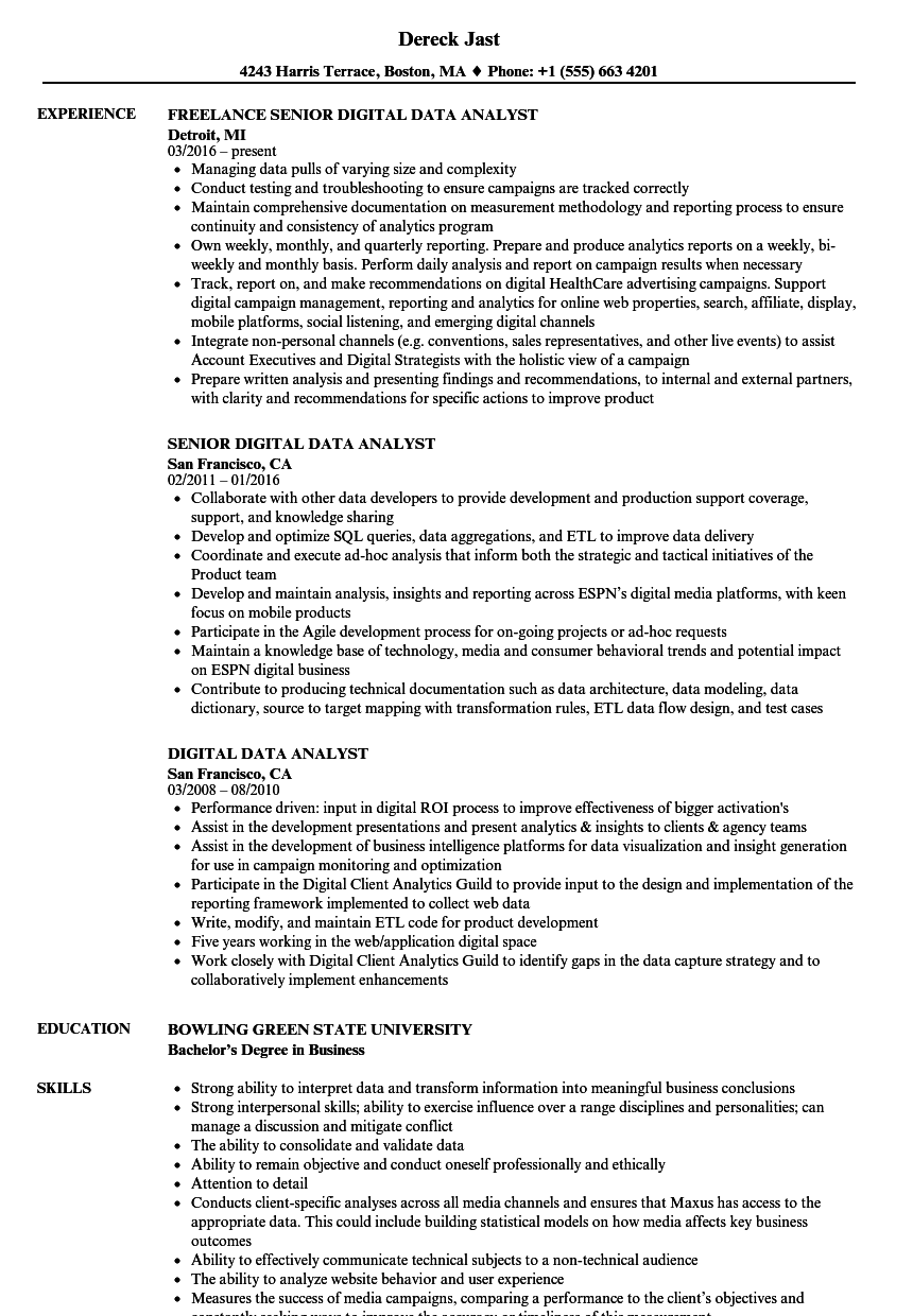 digital data analyst resume samples