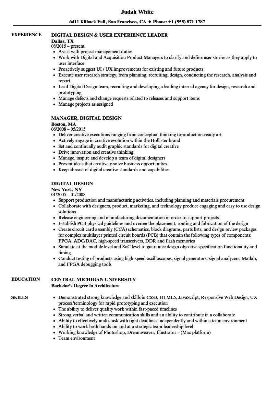 Digital Design Resume Samples | Velvet Jobs