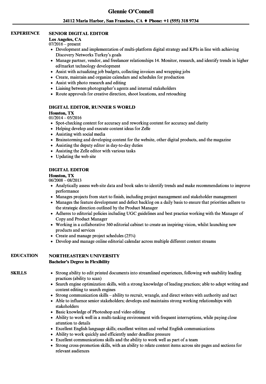 Digital Editor Resume Samples | Velvet Jobs