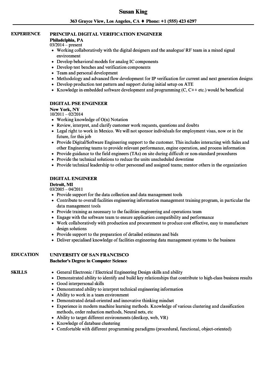 digital engineer resume samples
