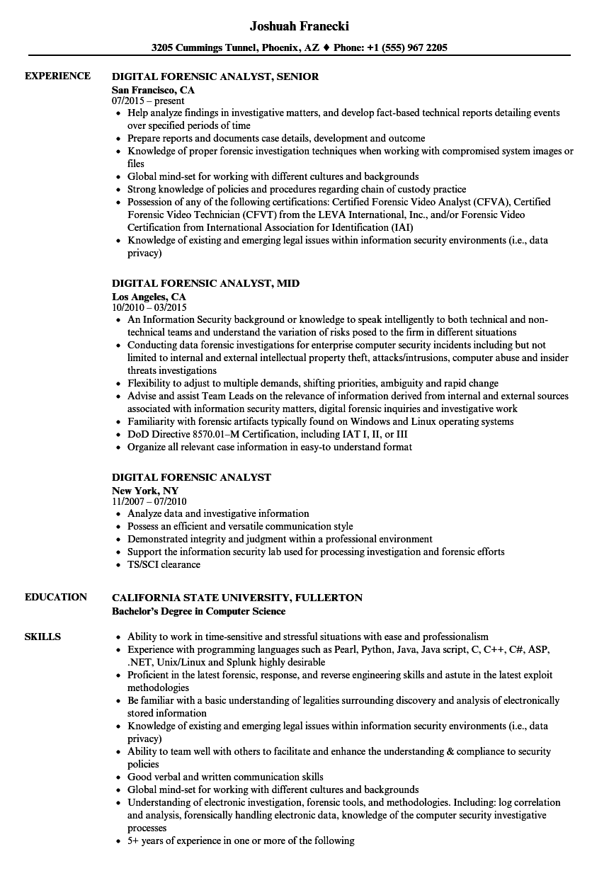 download digital forensic analyst resume sample as image file - Forensic Science Student Resume