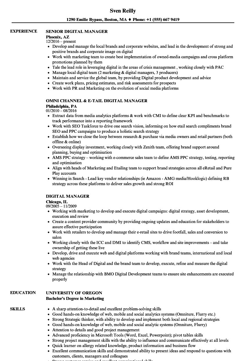Digital Manager Resume Samples | Velvet Jobs