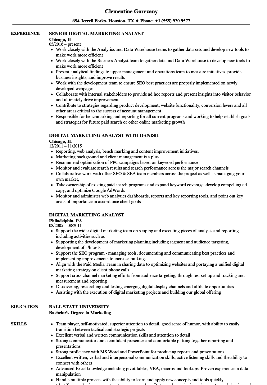 download digital marketing analyst resume sample as image file