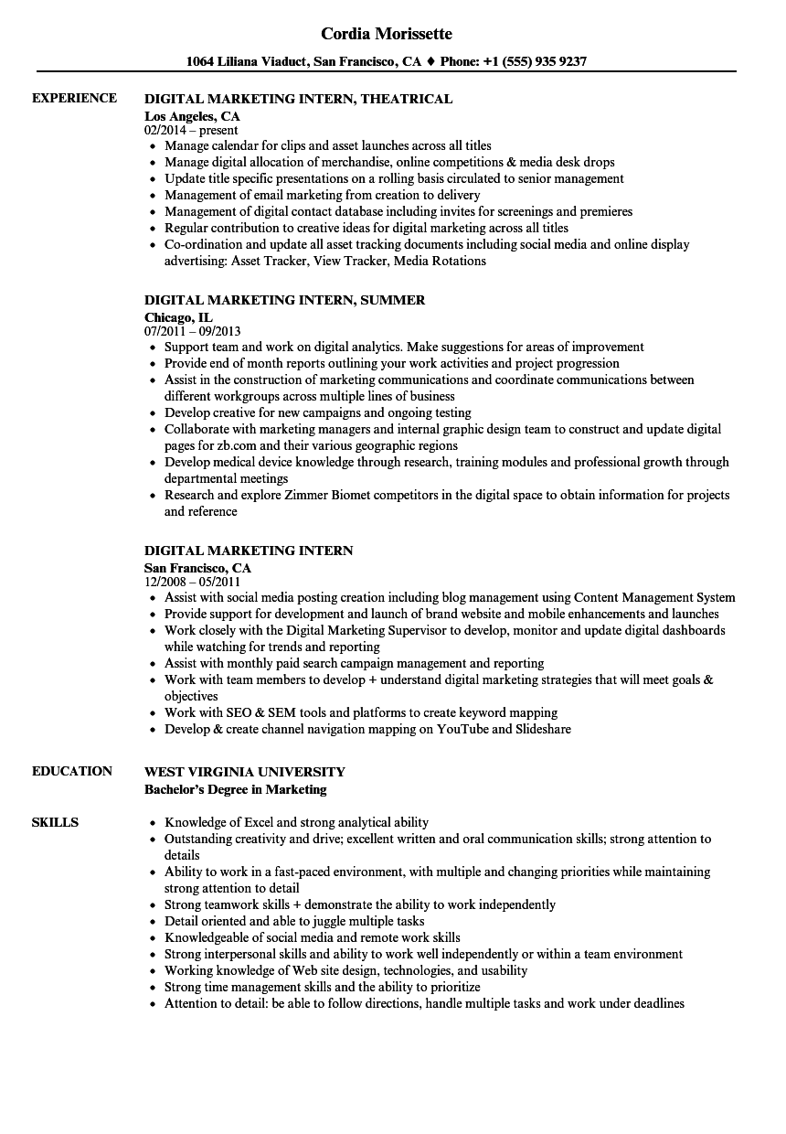 digital marketing intern resume samples velvet jobs