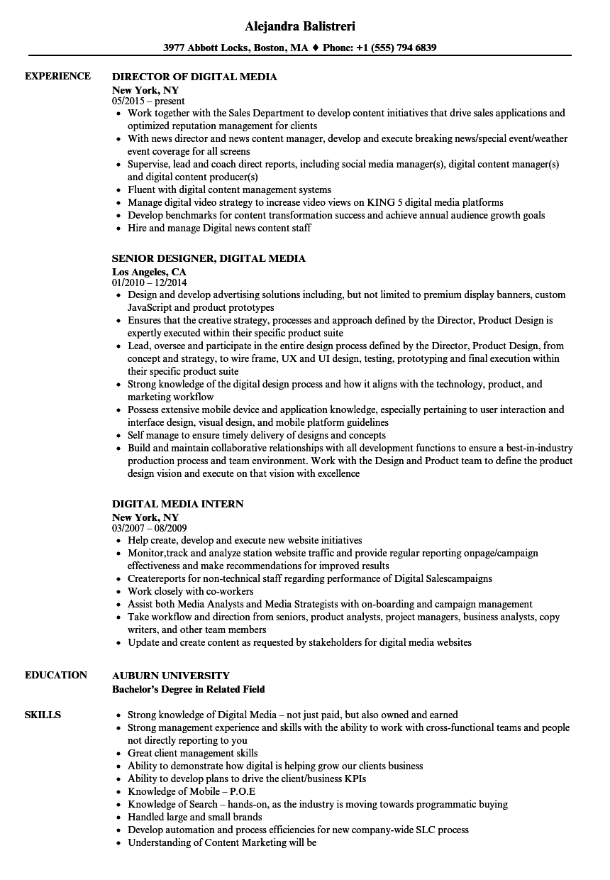 digital media resume samples