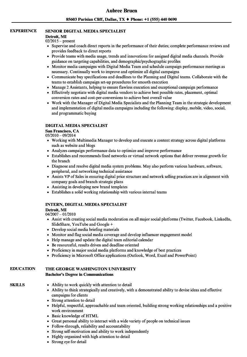 digital media specialist resume samples