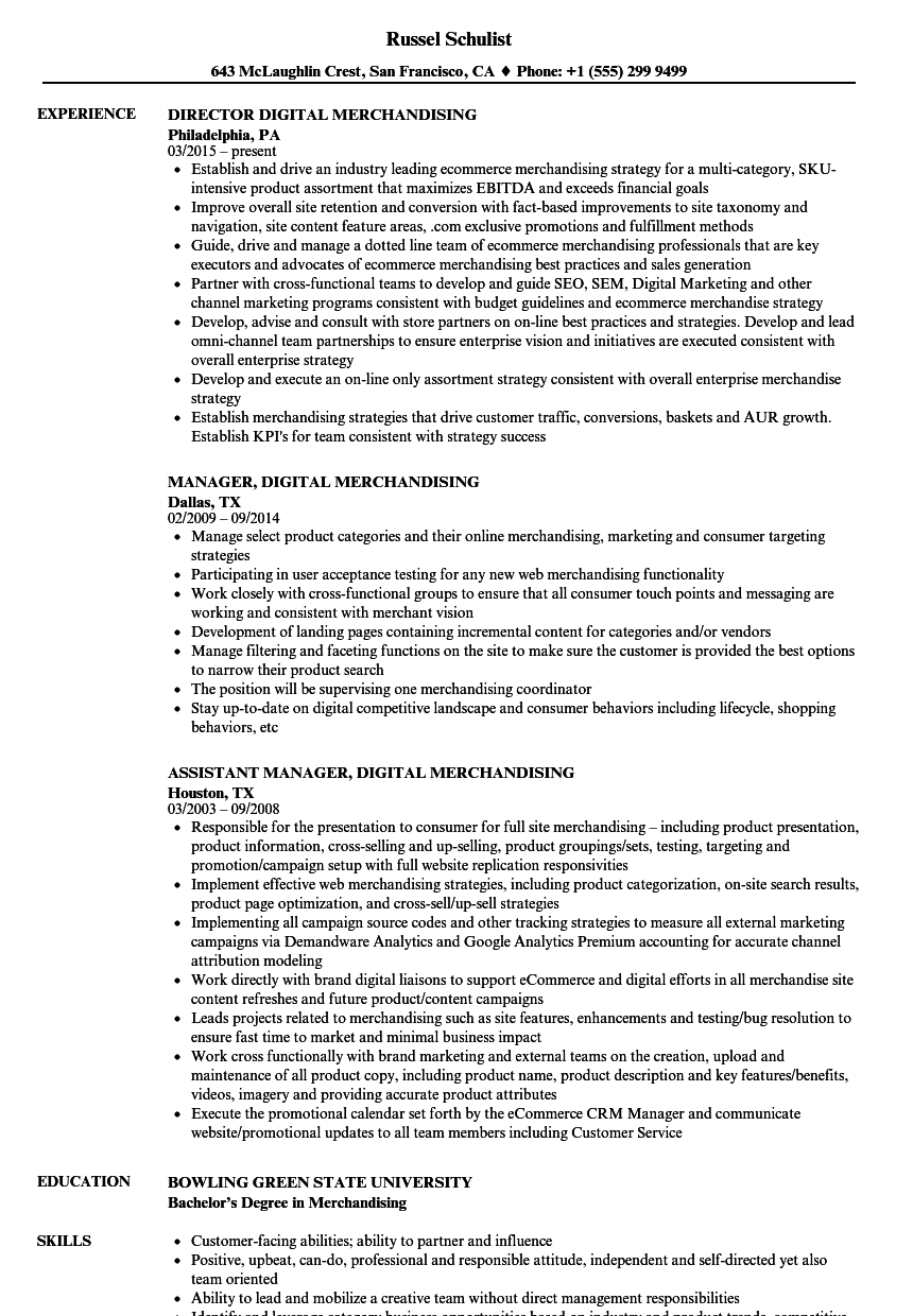 digital merchandising resume samples velvet jobs