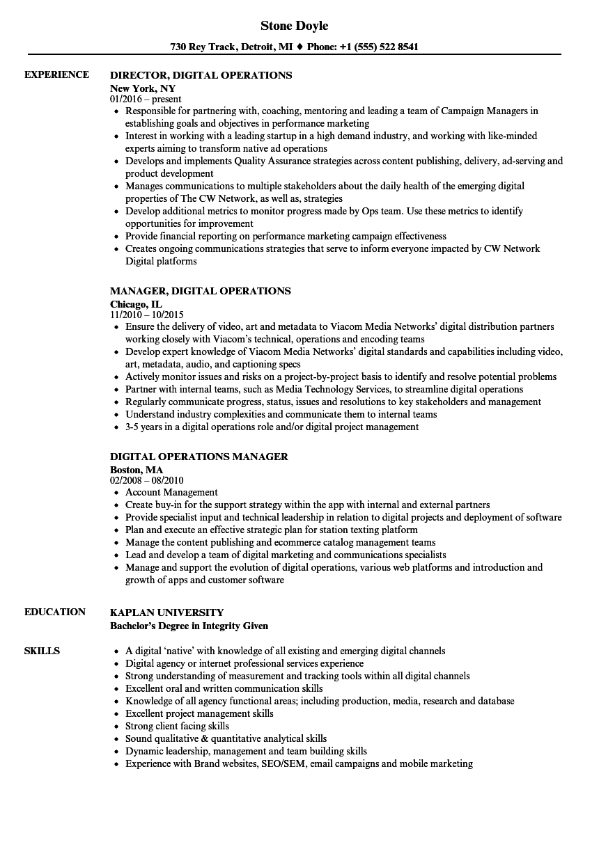 100 production operations engineer cv emergency