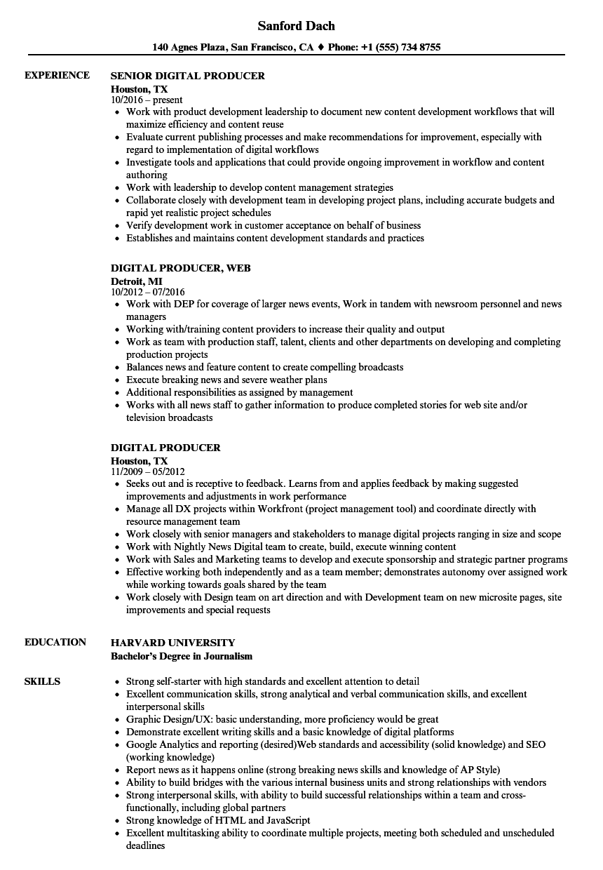 Digital Producer Resume Samples Velvet Jobs