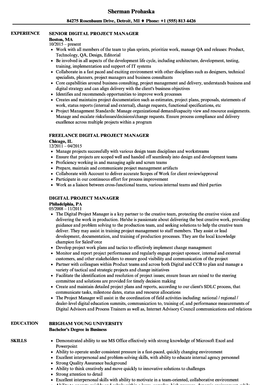Digital Project Manager Resume Samples Velvet Jobs