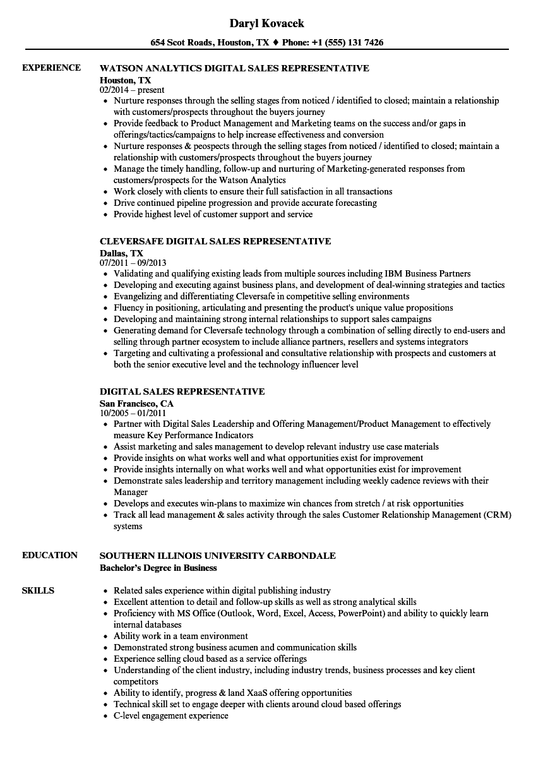 digital sales representative resume samples