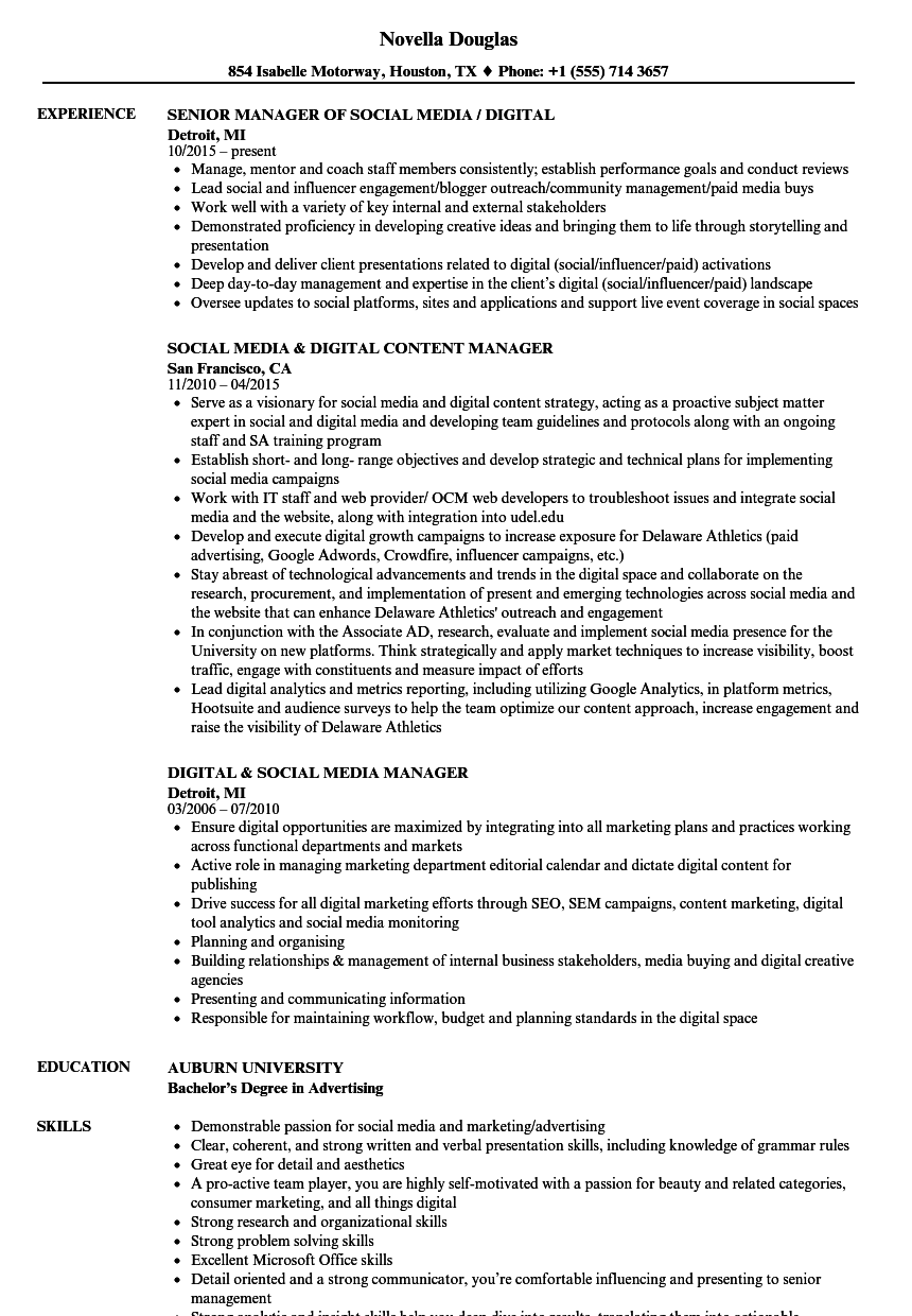 digital  u0026 social media manager resume samples
