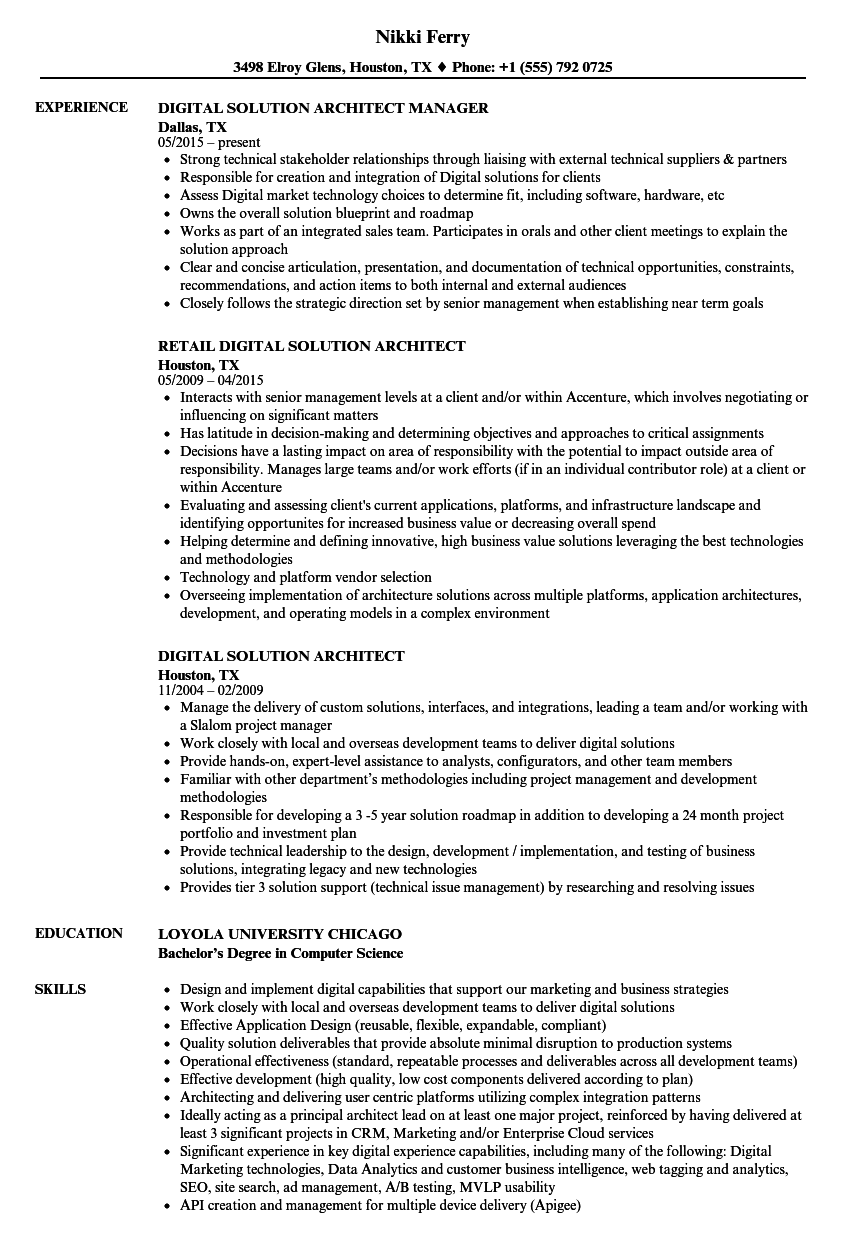 Digital Solution Architect Resume Samples | Velvet Jobs