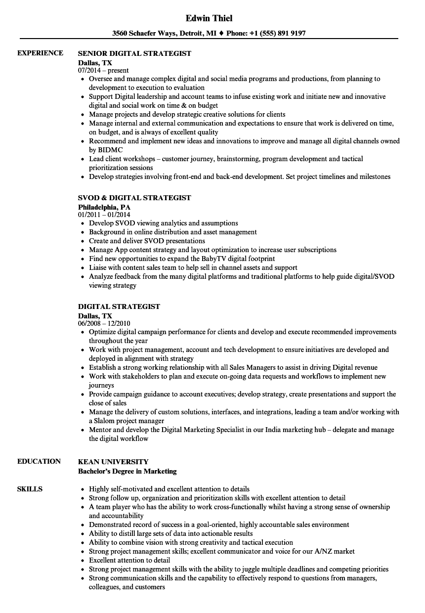 download digital strategist resume sample as image file - Digital Strategist Resume