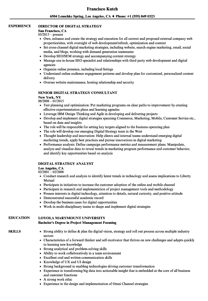 Digital Strategy Resume Samples Velvet Jobs