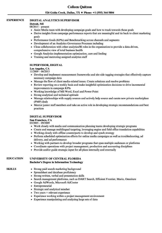 Digital Supervisor Resume Samples | Velvet Jobs