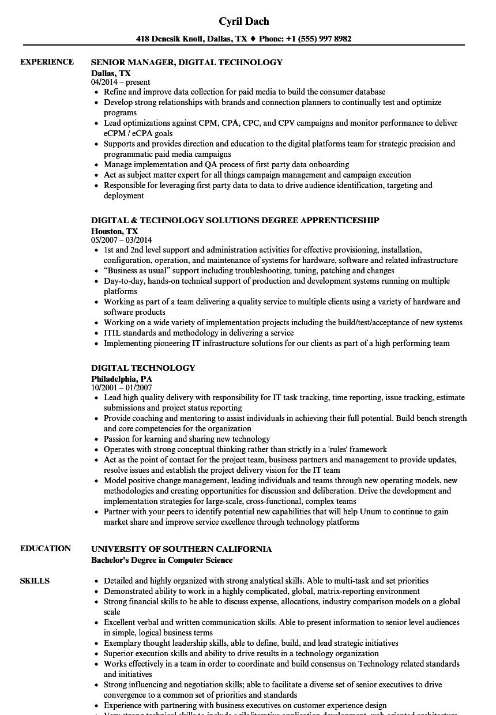 Digital Technology Resume Samples | Velvet Jobs