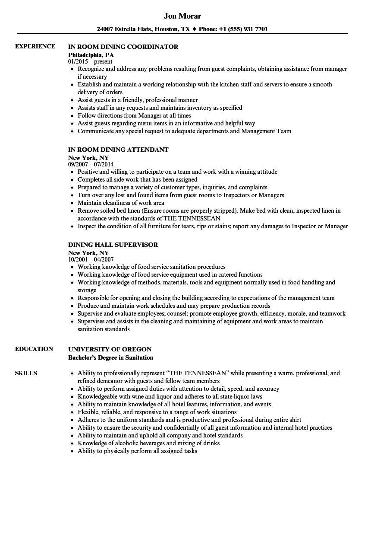dining resume samples